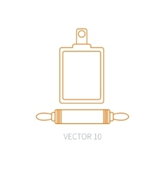 Line flat kitchenware icons plunger vector image