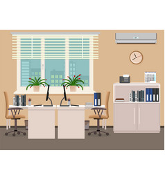 Office room interior design including two work vector