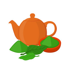 powder leaves of asian tea teapot teakettle vector image vector image