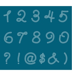 Set of rope font symbols and numbers vector