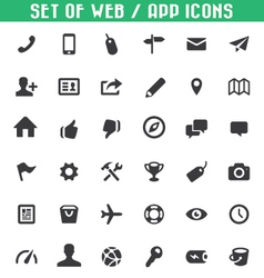set of web app icons vector image vector image