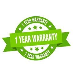 1 year warranty ribbon 1 year warranty round vector image