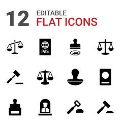 12 legal icons vector