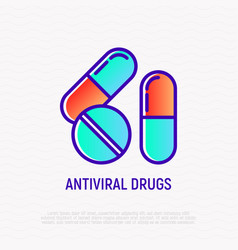 Antiviral drugs thin line icon vector
