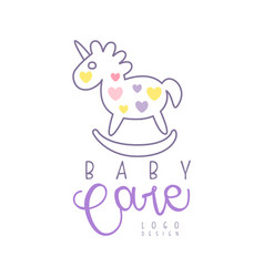 Baby care logo design emblem with rocking horse vector