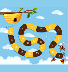 Bee finding hive board game vector