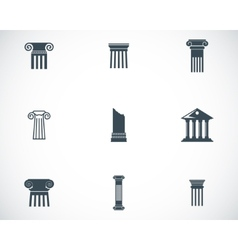 black column icons set vector image