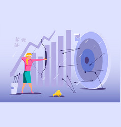 Blindfold businesswoman aiming from a bow vector