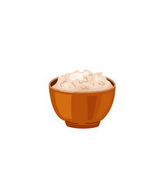 Brown rice in a bowl in bright color cartoon flat vector