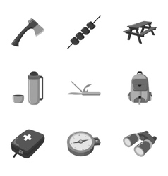 Camping set icons in monochrome style big vector