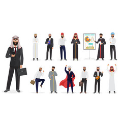 Cartoon arab muslim businessman male vector