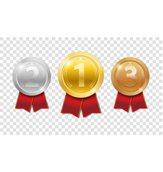 champion award medals sport prize gold silver vector image