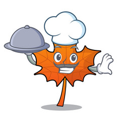 Chef with food red maple leaf mascot cartoon vector