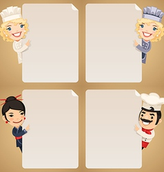 chefs looking at blank posters set vector image