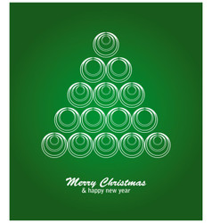 Christmas card with white tree and balls on green vector