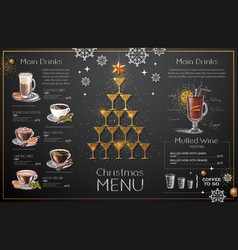 Christmas menu design with golden champagne vector