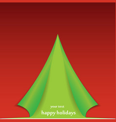 Christmas tree formed from curled corner paper vector image