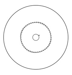 circular saw blade black icon in circle isolated vector image