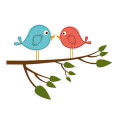 Colorful silhouette with pair birds in tree branch vector