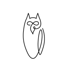 Continuous line drawing bird owl owl logo design vector