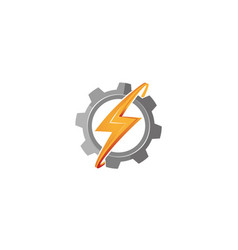 creative abstract gear thunder bolt logo vector image