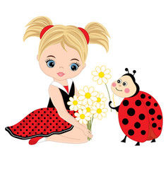 Cute little girl with ladybug and flowers vector
