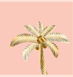 Decorative rosy and gold color tropical palm vector
