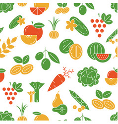 Digital green and red vegetable icons vector