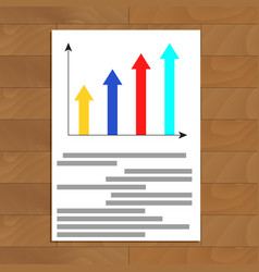 Document with growth arrow graphic vector