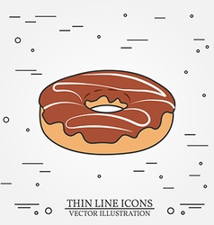 Donut thin line icon Donut isolated dark grey For vector