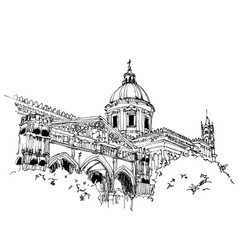 drawing sketch palermo cathedral sicily vector image
