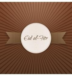 Eid al-fitr realistic decorative badge with ribbon vector