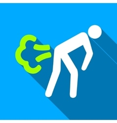 Fart Person Flat Long Shadow Square Icon vector image