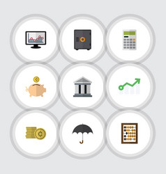 Flat icon finance set of money box cash bank and vector