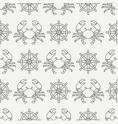 Flat line seamless pattern crab and vector