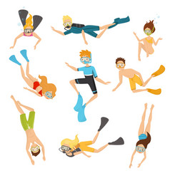 flat set of young divers people in vector image