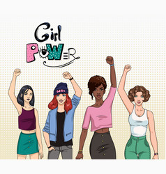 Girl power feminism concept different young vector
