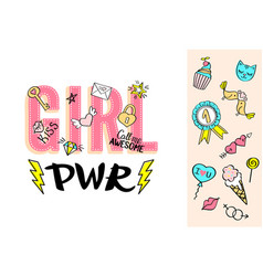 Girl power lettering with girly doodles vector