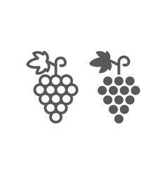 grapes line and glyph icon fruit and vitamin vector image