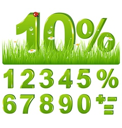 Green Discount In Grass And Set Of Figures and vector
