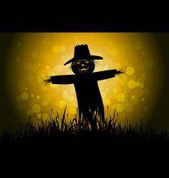 Halloween background with scarecrow vector