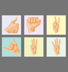 hands deaf-mute different gestures human layout vector image