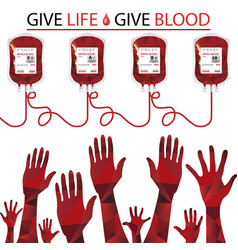 Hands with blood bags on white background vector