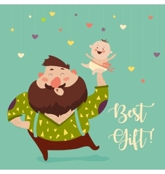 Happy father smiling with little baby vector image