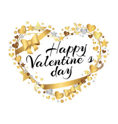 Happy valentines day poster inscription in hearts vector