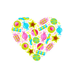 heart with a pattern colorful sweets vector image