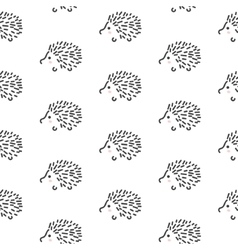 Hedgehog stylized line fun seamless pattern for vector image