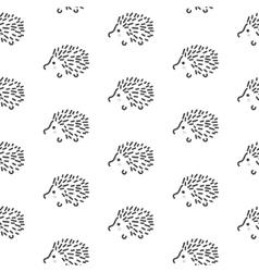 hedgehog stylized line fun seamless pattern vector image