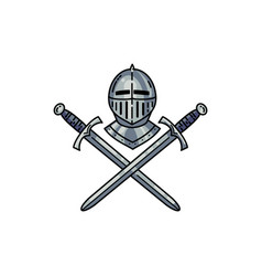 Helmet and crossed swords vector
