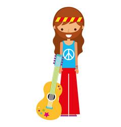 Hippie man cartoon with guitar vector